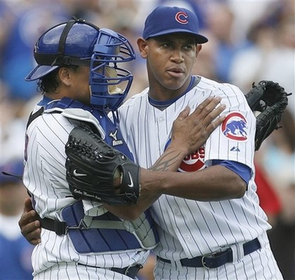 Marmol is congratulated by Henry Blanco.jpg