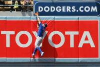 Reed Johnson tries to catch a home run at Dodger Statdium.jpg