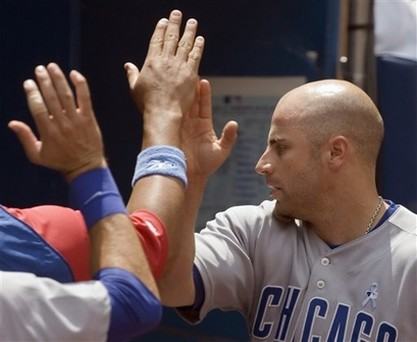 Reed Johnson gets high fives.jpg
