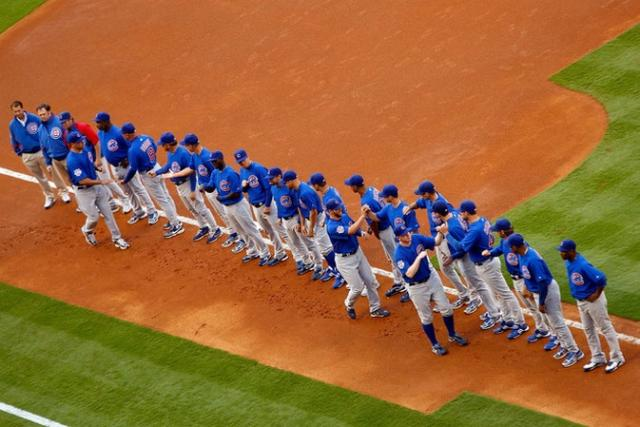 Cubs players are introduced on opening day 2009.jpg