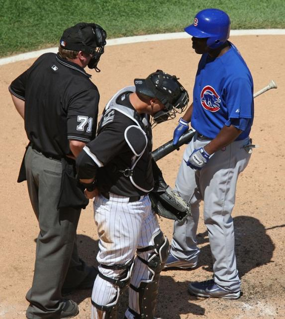 Milton Bradley chats with the home plate umpire.jpg
