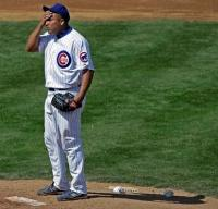 Carlos Zambrano wipes his forehand during Spring Training 2010.JPG