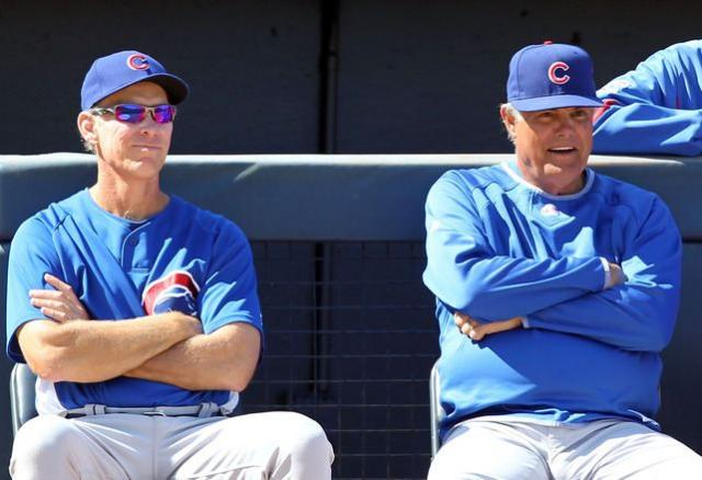 Cubs manager Lou Piniella and coach Alan Trammel look on during Spring Training 2010.JPG
