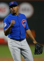 Carlos Marmol pumps his fist as he closes out the game.JPG