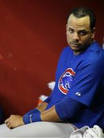 Aramis Ramirez looks at the camera while in the Cubs dugout.JPG