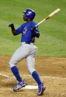 Alfonso Soriano hammers a 2 run homer vs the Diamondbacks.JPG